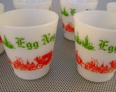 Six Vintage Hazel Atlas Christmas Holiday Egg Nog White Milk Glass Mugs Cups Servingware,