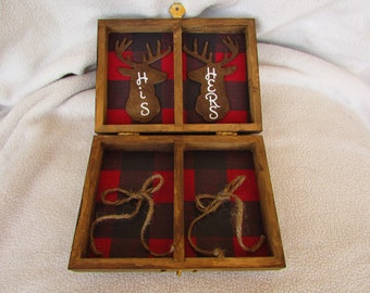Winter Lumberjack Christmas Rustic Wedding Stained Aged Woodland Deer His Hers Divided Wedding Ring Bearers Box