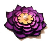 40% OFF Sale Jewelry supplies. Handmade LARGE leather Lilly flower for crafts and jewelry making, Purple and yellow color