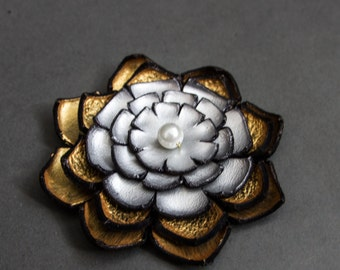 Jewelry supplies. Handmade LARGE leather Lilly flower for crafts and jewelry making