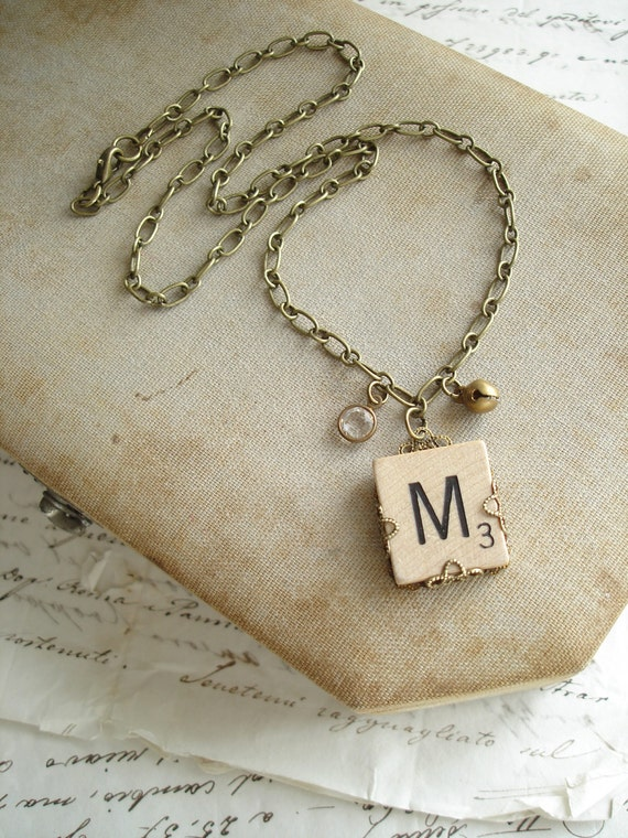 Letter M Necklace. Scrabble Letter Necklace. Initial Necklace. Vintage Wood Tile in Antiqued Brass Filigree. Rustic Monogram Necklace.