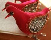 3 RED  FLOCKED clip on birds, christmas tree ornaments