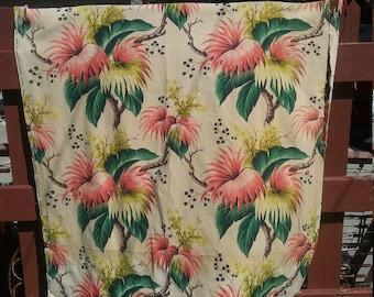 40's Bark cloth Barkcloth Curtain Panel Cutter