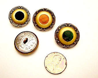 FREE US SHIPPING - Four French Perfume Buttons:  metal shanks - different colors of velvet centers - A. P. & Cie, Paris