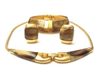 Trifari Full Parure, Vintage Crown Trifari Set, Necklace Bracelet and Earrings Set, 1970s Lucite and Gold Parure Vintage Costume Jewelry Set