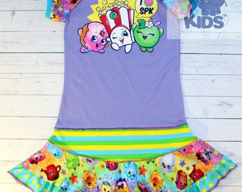 A dress made out of authentic SHOPKINS  tshirt cool funky recycled upcycled  pieced  size 7/8