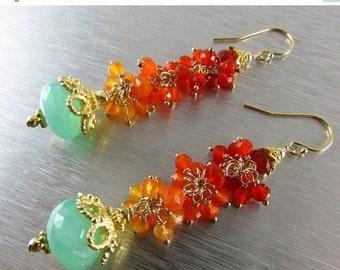 25% Off Summer Sale Peruvian Blue Opal With Shaded Carnelian Boho Style Earrings