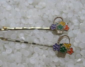 vintage hair pin , pressed metal flowers,