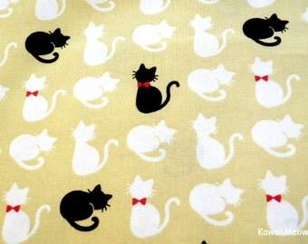 Kawaii Japanese Fabric - Cute Cats on Beige  - Fat Quarter - (sh151016)