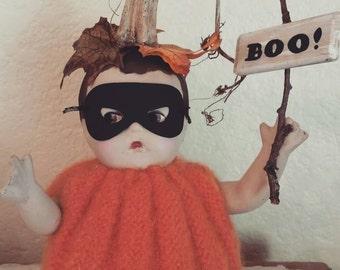 Pumpkin Boy Theodore Altered Art Doll