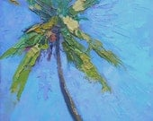 "Impressionist Tropical Landscape, Palm Tree Painting, daily painting, textured art, 6x8"" oil paianting, Reduced from 100.00"