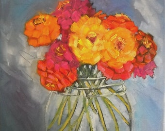 Flower Giclee Print on Canvas, Choose Your Size, ready to hang, free shipping, zinnia painting, no frame required