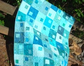 Aqua Teal Sea Glass Lap Baby Quilt