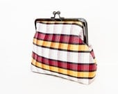 Plaid Clutch Bag, Clutch, Handbag, Purse, Holiday Bag, Gift for Her, Gift Under 50, Silk Clutch, Evening Clutch, Silk Duponi Plaid