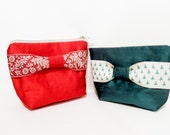 Silk Pouch, Zipper Pouch, Fabric Pouch, Holiday Gift, Gift for Her, Gift Under 20, Cosmetic Pouch,  Silk Pouch with Ribbon Bow, Green or Red