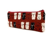 Large Zipper Pouch, Pencil Pouch, Pencil Case, Fabric Pouch, Cosmetic Bag, Toiletry Bag, Pouch, Gift for Her, Clutch, Lucky Cats in Deep Red