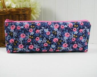 Long Zipper Pouch, Long Zipper Pouch, Long Pencil Case, Pencil Pouch.. Les Fleurs Rosa in Navy, Rifle Paper Co