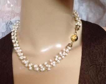 Crochet Gold necklace white pearls-Bridal Handmade