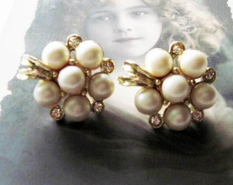 Vintage Sarah Coventry Pearl and Rhinestone Earrings