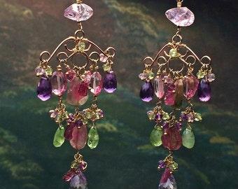 Watermelon Tourmaline Earring Luxury Gemstone Gold Chandelier Earring Wire Wrap  Multicolor Gemstone Colorful Handmade Bohemian Chandelier