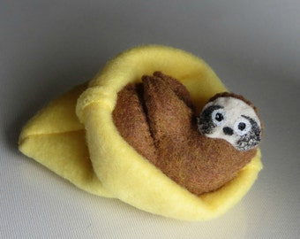 Sloth miniature felt  stuffed animal in fleece snuggle bag with bendable legs and hand painted face -rain forest animal