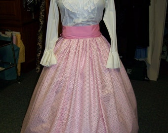 Colonial,Civil War,Victorian, Long SKIRT for camp dress one size fit all two Pinks,white and burgundy with Pink or burgundy sash, handmade