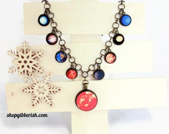 Solar System Necklace - Planet Science Jewelry Astronomy Statement Charm Necklace
