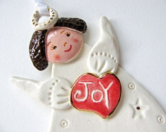 Joy Angel Ornament Hand Sculpted Clay