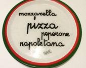 Vintage Baldelli Pizza Serving Tray/Platter, 70's Decor, Italian Ceramic