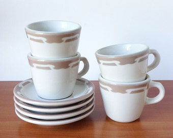 Vintage Restaurant Ware Wallace China Cups and Saucers, California Pottery/Ceramic, Set of Four Tan Mugs