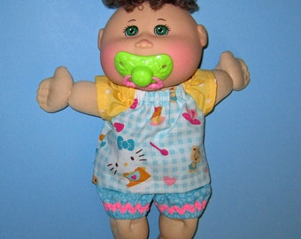 Cabbage Patch, Naptime Babyland, Doll Clothes, Hello Kitty,Top and Short , 12  13  inch Doll Clothes,  Fun to Feed Cabbage Patch Doll