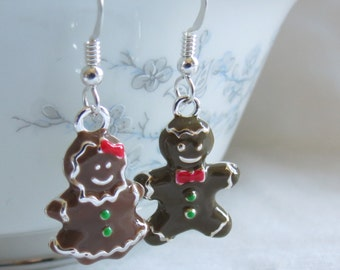 Gingerbread People Earrings / Gingerbread Man and Woman