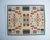 Miniature Printed on fabric Area Rug, teal/aqua/beige/rust with Southwest Theme, for the dollhouse
