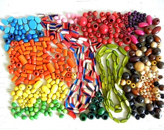 Vintage Camp Fire Girl Wood Beads | 600+ Painted Wooden Beads | Honor Beads | Red White Blue Beads