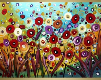 HUGE Painting FLOWERS -made to order-Original Modern Abstract Whimsical Painting  by Luiza Vizoli
