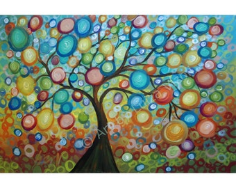 Original Painting Tree Landscape Abstract Painting Modern Art Large Oil by Luiza Vizoli SUMMER WISHES Ready to Ship