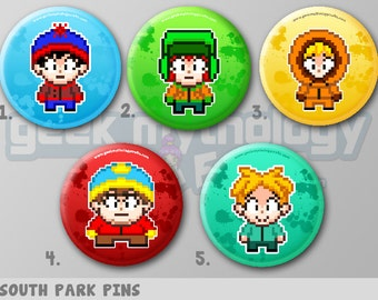 """South Park 1.5"""" Pixel Art Pin Buttons or Magnets"""