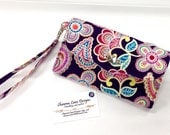 women's wallet with wrist strap, Ready to ship wristlet wallet, cell phone accessory, phone wallet, purple floral wallet