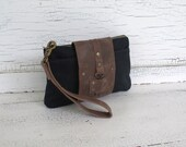 Small Black Waxed Canvas and Distressed Leather Smartphone Wallet, Wristlet, Travel Organizer, Small Purse