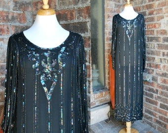 Sale 80s Silk Beaded Long Gown, Sheer Black Maxi Dress, Beads and Sequins, Heavy Drape, Art Deco Flapper Dress 1920s Inspired Style