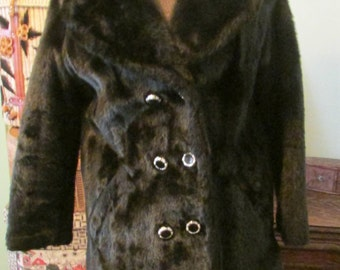Vintage Fake Fur Coat Faux Fur Jacket 1960s Double Breasted Brown and Black Coat Sharpee