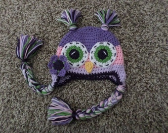 Pink and lavender Owl Hat made to order in any size