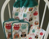 2 Crocheted Hanging Kitchen Towels with 2 Pot Holders and Dishcloth - Colorful Owls