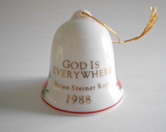Bell Ornament Vintage 1988 God Is Everywhere Porcelain Bell Helen Steiner Rice Poinsettia Flowers Small Bell Tree Ornament Christmas Bell
