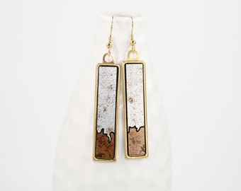 Modern Geometric Dangle Earrings - Two-Tone Glossy Laminate - Laser Cut Irregular Edge Design in Brass Setting (Textured Silver w/ Copper)