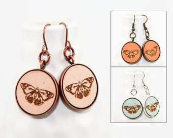 Butterfly Dangle Earrings - Laser Engraved Wood (Choose Your Color)