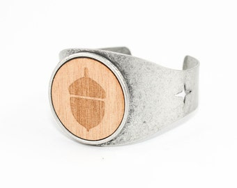 SALE Acorn Cuff - Laser Engraved Wood (Natural Maple Wood) Adjustable Metal Bracelet