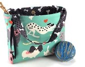 Knitting Project Bag Crochet Tote - Doggone