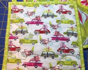 Insulbrite Quilted Potholder: Holiday trees and Vintage autos, ornaments, hostess gift, ready to ship, lime green, pink and red