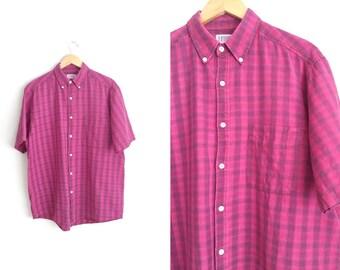 Size L // MAGENTA PLAID OXFORD // Button-Up Shirt - Short Sleeve - Vintage '90s Grunge.